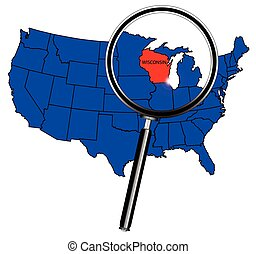 Wisconsin state outline set into a map of The United States...