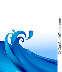 waves - drawing of blue waves in a white background