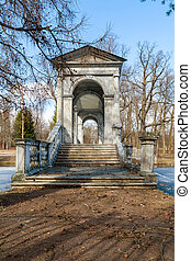 Palladian bridge - Marble Bridge in the park Tsarskoye Selo,...