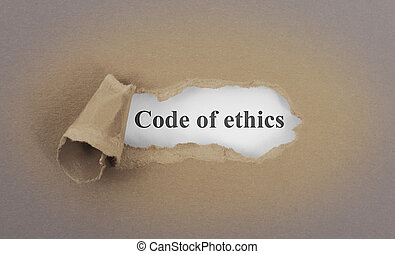 Text appearing behind torn brown envelop - Code of ethics