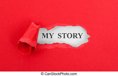 Text appearing behind torn red envelop - My story