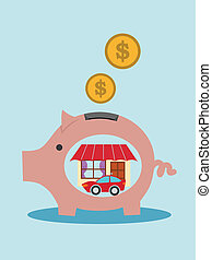 Broken pink pig-moneybox