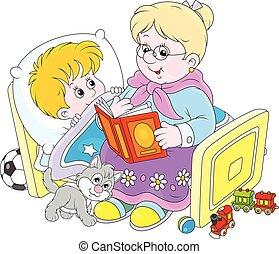 Granny and grandson reading fairyta - Grandmother reading...