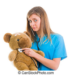 Sympathizing with child patient - Playful doctor dissolving...