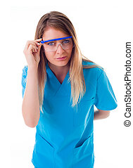 Laboratory doctor - Curious young female docor in the lab...