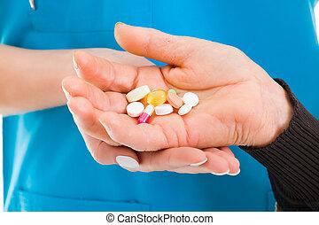 prescripción, drogas, y, farmacéutico,...