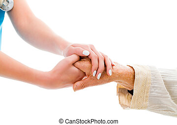Healtchcare support concept - Supporting hands for senior...