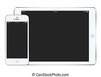 Mockup of white tablet computer in landscape orientation and...