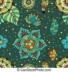 flowers pattern - Fantasy hand drawn flowers vector seamless...