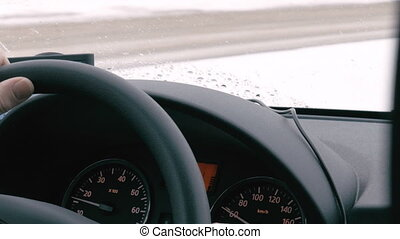 Traveling by car in winter