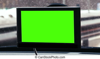 GPS device with chroma key over dashboard - Close-up shot of...
