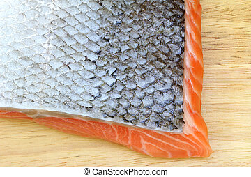 Raw salmon with skin - Closeup photo of Raw salmon with skin...
