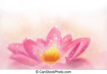 Lotus flower and white circle bokeh and white mist. Illustration collage.