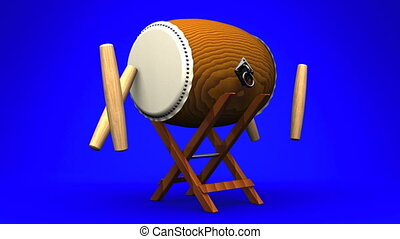 Asian Drum And Sticks On Blue White Background.