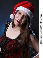Smiling long haired santa girl