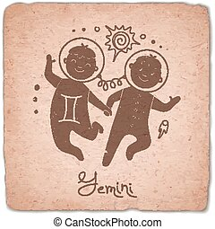 Gemini zodiac sign horoscope vintage card.