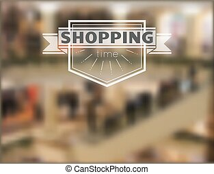 Shopping time hipster background - Hipster label with...
