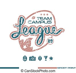 College rugby team emblem in retro style. Graphic design for...