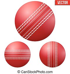 Traditional shiny red cricket ball. Vector Illustration on...