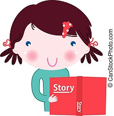 Original artwork for Kindle Book : Girl with story Book