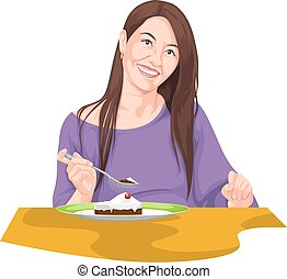 Vector of woman eating using fork.