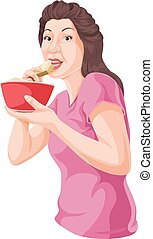 Vector of woman eating from bowl.
