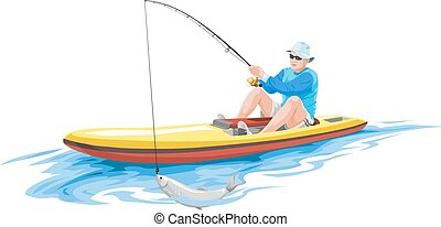 Vector of man fishing on boat.