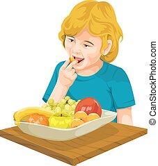 Vector of girl eating fresh fruit.