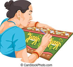 Vector of woman painting.