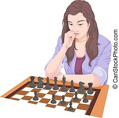 Vector of woman playing chess.