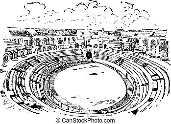 Amphitheater in Nimes, vintage engraving. - Amphitheater in...