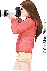 Vector of woman photographer with slr camera.