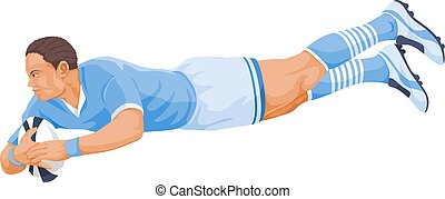 Vector of rugby player diving.