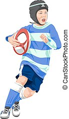 Vector of teenage boy playing rugby.