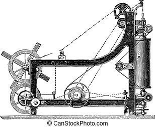 Making machine rope yarn, called a swing bridge, vintage...