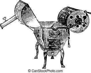 Coffee roaster, vintage engraving.