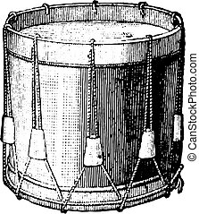 Snare drum strings, vintage engraving. - Snare drum strings,...