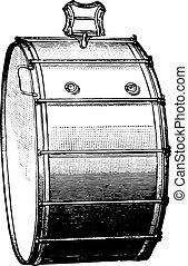 Big rods box, vintage engraving.