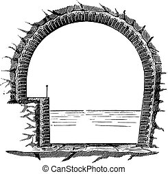 Mauvages cross section of the underground, vintage engraving.