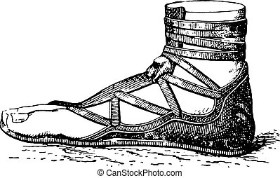 Greek shoe, vintage engraving.