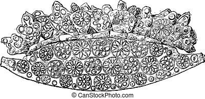 Crown of the heroic age, vintage engraving.