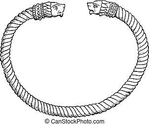 Bracelet, vintage engraving.