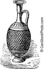 Vase perfumes, vintage engraving.