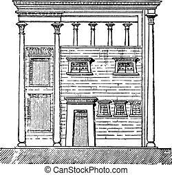 Egyptian house, vintage engraving.