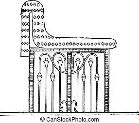 Egyptian seat, vintage engraving.