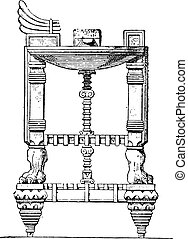 Assyrian table, vintage engraving.