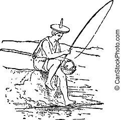 Angler, vintage engraving.