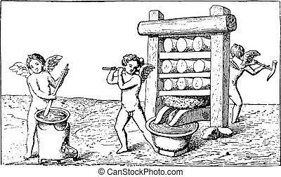 Vinhøst, Vin, presse, Gravering