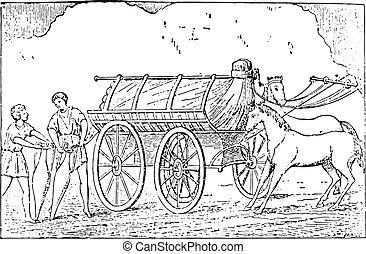 Further transport, vintage engraving - Further transport,...