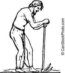 Laborer slave, vintage engraving - Laborer slave, vintage...